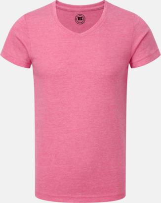 Pink Marl (v-neck pojke) Barn t-shirts i u- och v-hals med reklamtryck