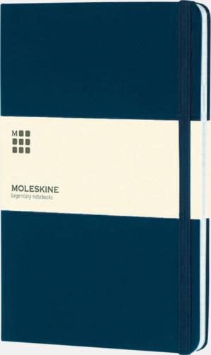 Mörkblå (squared) Moleskines stora anteckningsböcker (ca A5) med linjerade eller rutade sidor - med reklamtryck
