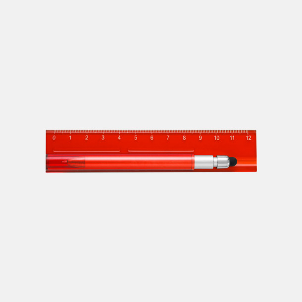 Röd Linjal med styluspenna i hållare - med reklamtryck