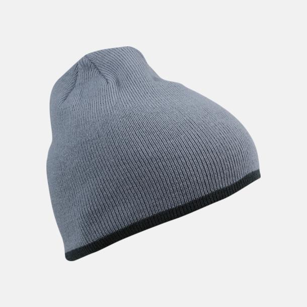 Ljusgrå/Mörkgrå Stickad mössa med eget tryck