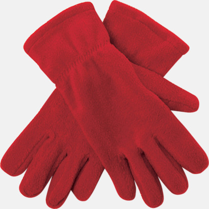 Röd Fleecevantar i många färger med brodyr