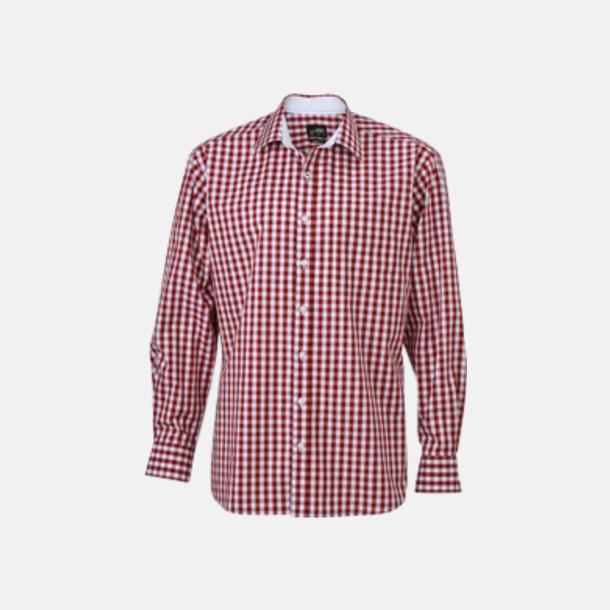 Vinröd/Vit (herr) Rutiga bomullsskjortor & -blusar med reklamtryck
