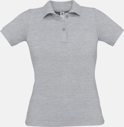 Heather Grey Pikétröjor med tryck för dam