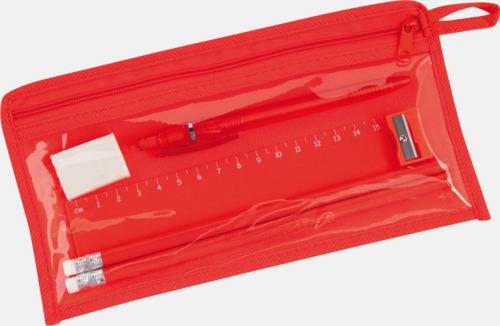 Röd Pennskrin med pennor, linjal, vässare och sudd - med tryck