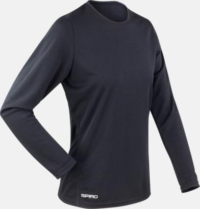Svart (dam) Långärmade funktionströjor i herr- & dammodell med reklamtryck