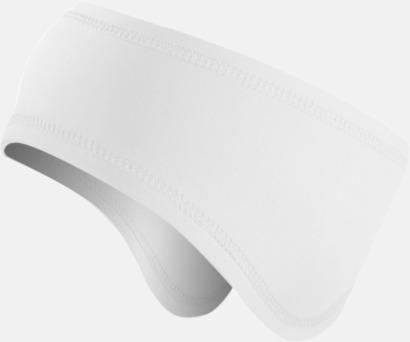 Vit Pannband i funktionsmaterial med reklamlogo