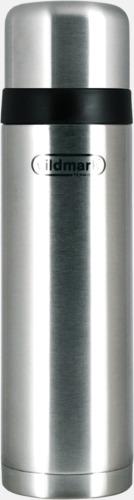 Borstad silver Fickståltermos med reklamtryck