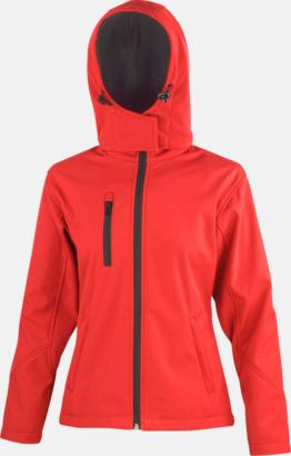 Röd/Svart (dam) Hooded softshell-jackor i herr- & dammodell med reklamtryck