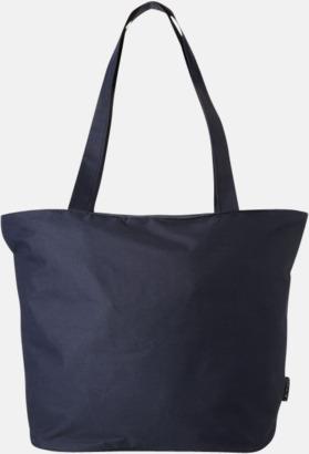 Marinblå Polyester tygpåsar med reklamtryck