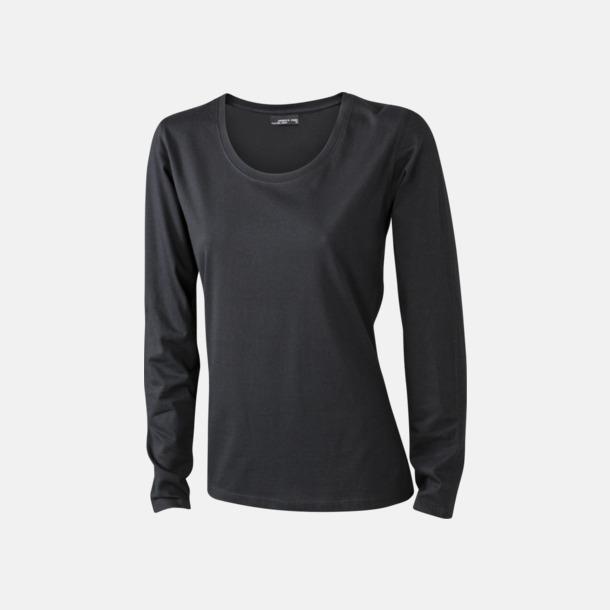 Svart (dam) Långärmade t-shirts i herr-, dam- & barnmodell med reklamtryck