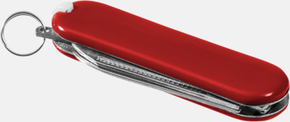 Röd Billig fickkniv med 5 funktioner - med reklamtryck