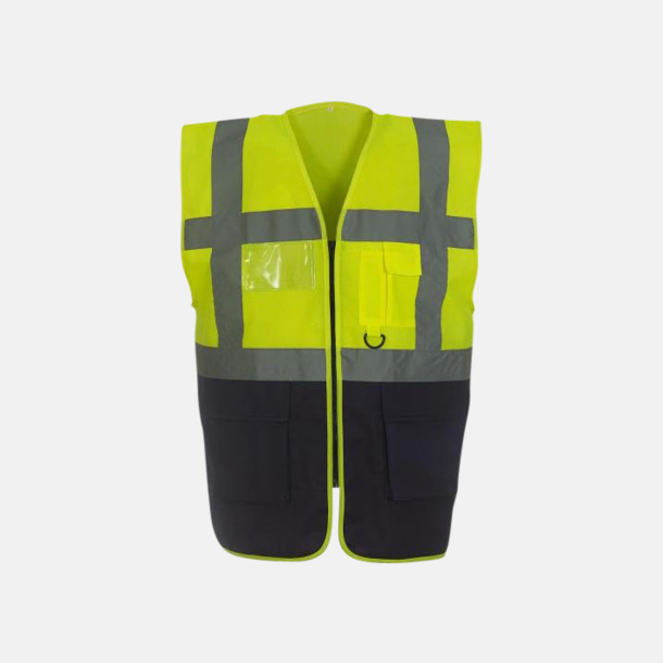 Hi-Vis Yellow/Marinblå Varselvästar med 2-färgade modeller - med reklamtryck