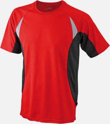 Röd/Svart/Reflex Flerfärgade tränings t-shirts i herrmodell med reklamtryck