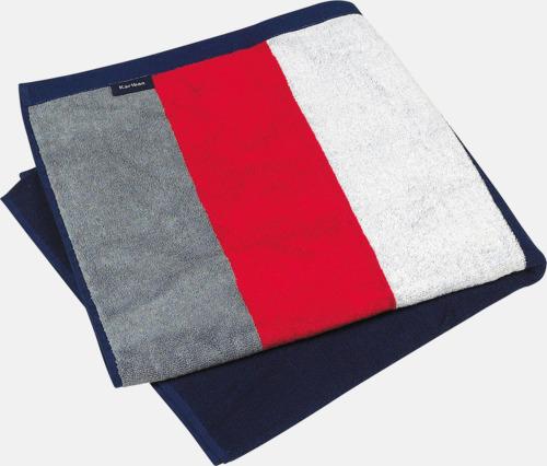 Grå (solid)/Röd/Vit/Marinblå Stora, randiga strandhanddukar med reklambrodyr