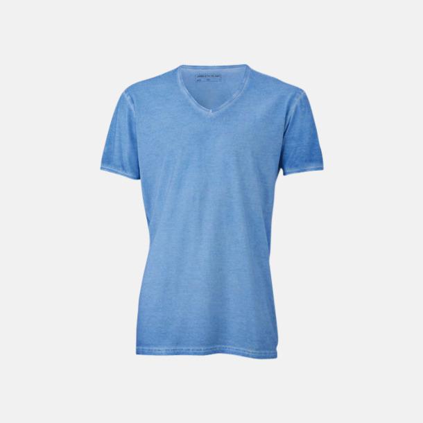 Horizon Blue (herr) Trendiga v-neck t-shirts i herr- och dammodell med reklamtryck