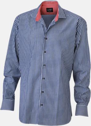 Marinblå-Vit/Röd (herr) Blusar & skjortor i randigt mönster med reklamtryck