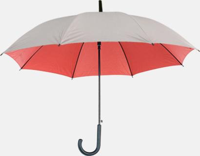 Silver / Röd Paraplyer med färg på insidan - med reklamtryck