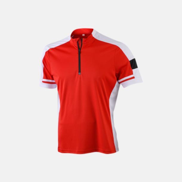 Röd (herr) Herr- och dam cykeltröjor med reklamtryck