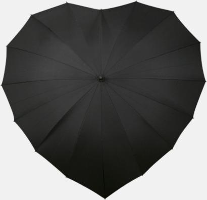 Svart Hjärtformade paraplyer med eget tryck