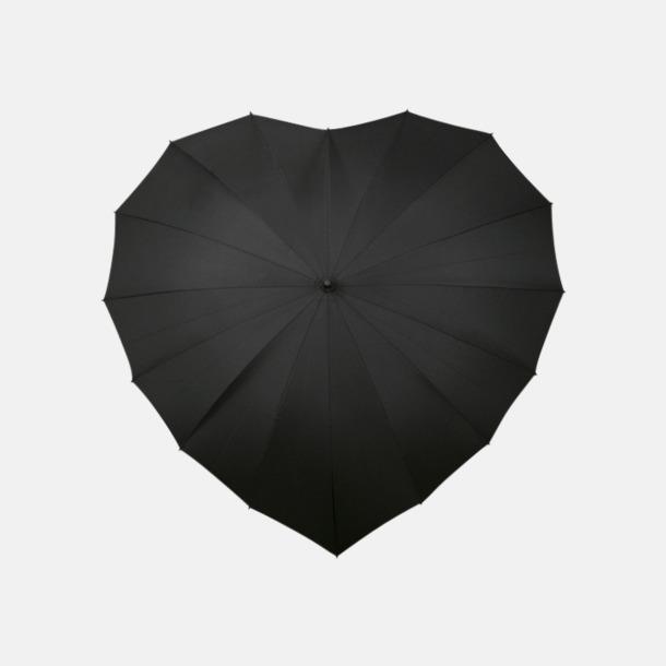 Svart Hjärtformade paraplyer med eget reklamtryck
