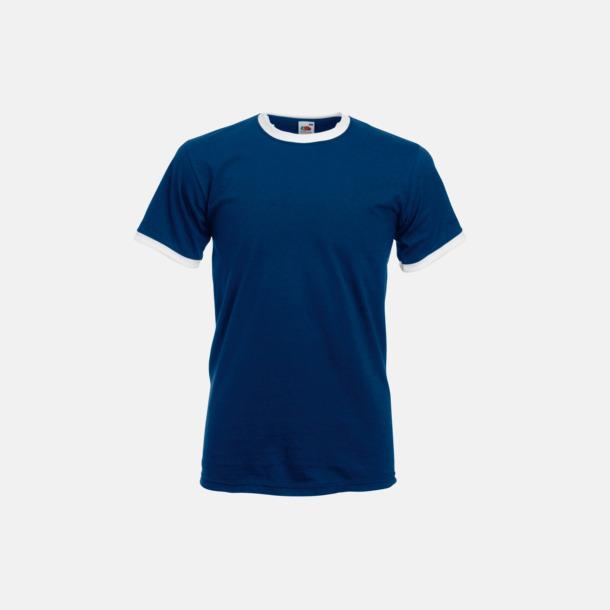 Marinblå/Vit T-shirt med kontrasterande färger - med reklamtryck