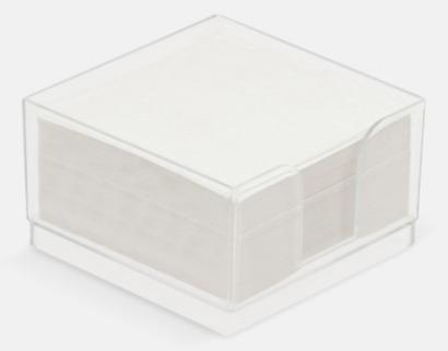 Transparent Plastkub med vita anteckningspapper - med reklamtryck