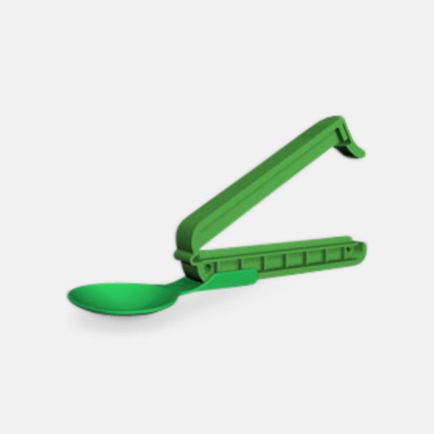 Grön Plastsked med förslutare med reklamtryck