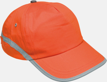 Orange Varselkepsar med reflexband med reklamtryck