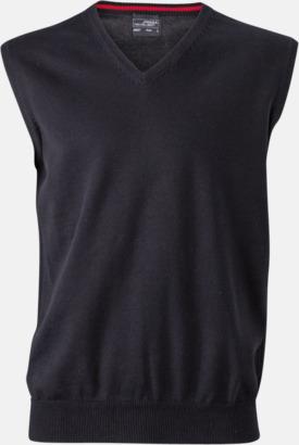 Svart V-ringad pullover med eget tryck