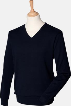 Marinblå (herr) V-neck jumper i herr- & dammodell med reklamtryck
