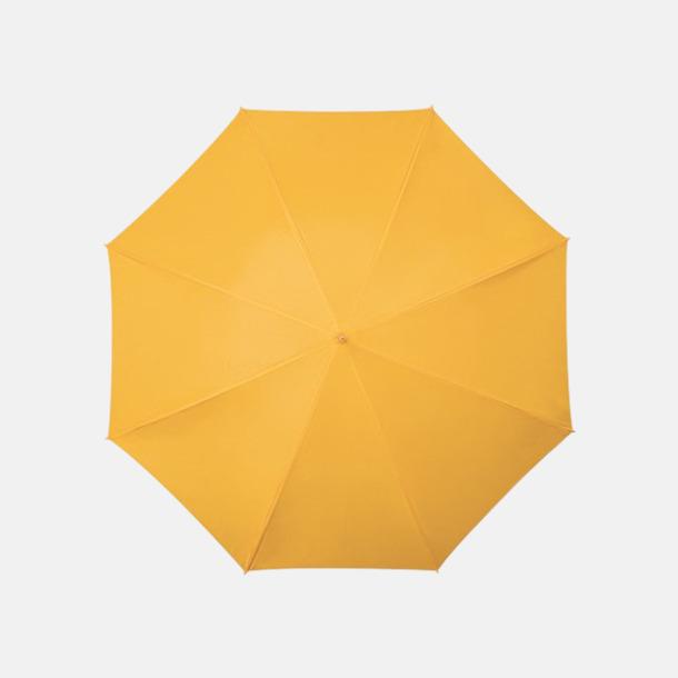 Gul (PMS 123C) Golfparaplyer med aluminium skaft - med reklamtryck