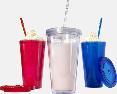 Plastmuggar med lock och sugrör - med tryck