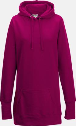 Hot Pink Extra långa huvtröjor i dammodell med reklamtryck