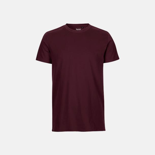 Bordeaux (herr) Fitted t-shirts i ekologisk fairtrade-bomull med tryck
