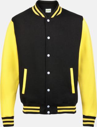 Jet Black/Sun Yellow (bild 2) Trendiga varsity-jackor för barn - med reklamtryck