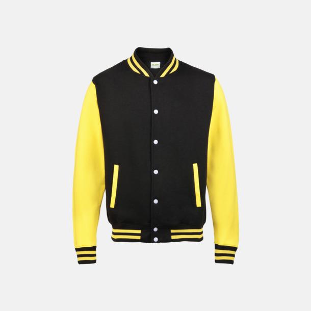 Jet Black/Sun Yellow (2) Trendiga varsity-jackor för barn - med reklamtryck