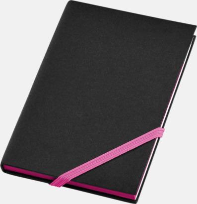 Svart/Neonrosa (A6) Anteckningsböcker i A5- och A6-format med reklamtryck