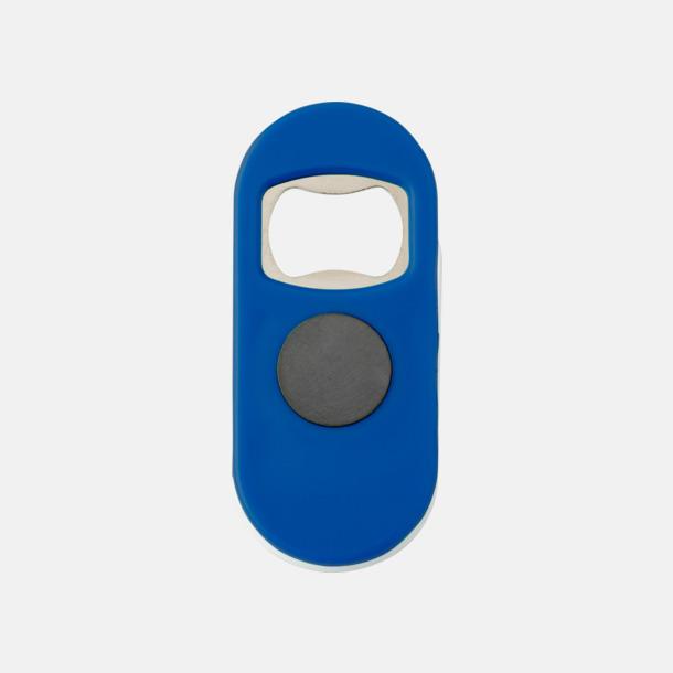 Blå / Vit Öppnare med klämma och magnet - med reklamtryck