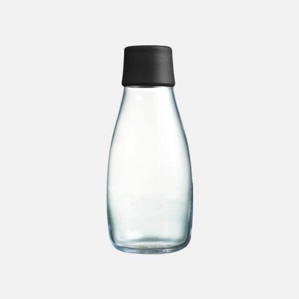 Svart Mindre vattenflaskor av glas med reklamtryck