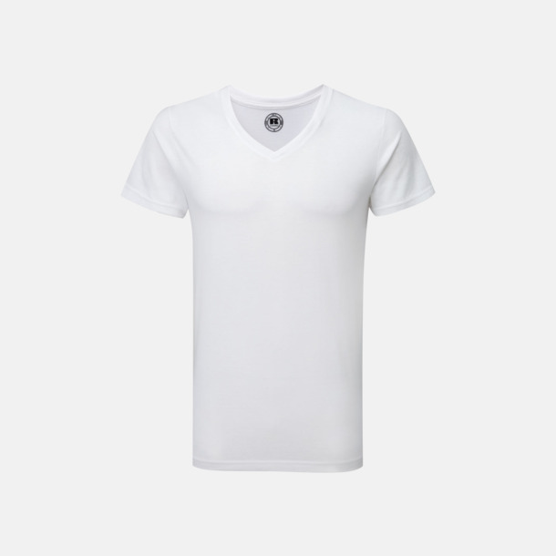 Vit (v-neck) Sublimerings t-shirts i herrmodell