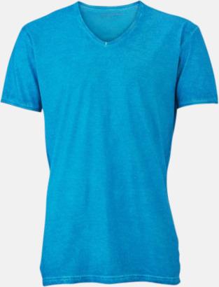 Turkos (herr) Trendiga v-neck t-shirts i herr- och dammodell med reklamtryck