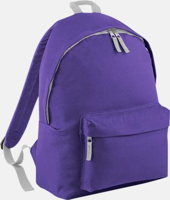 Lila/Ljusgrå Klassisk ryggsäck i 2 storlekar med eget tryck