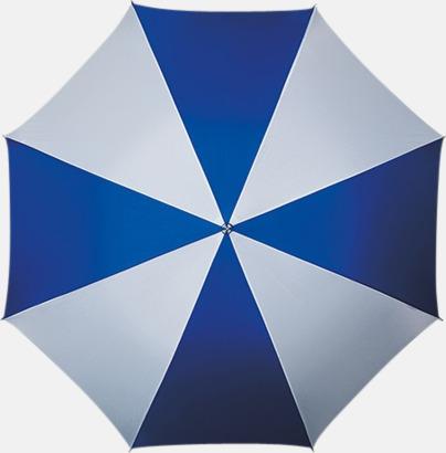 Blå / Vit Randigt paraply med ergonomiskt trähandtag