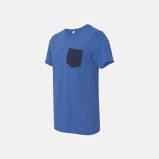 Heather True Royal/Marinblå Herr t-shirts med bröstficka i kontrasterande färg - med reklamtryck