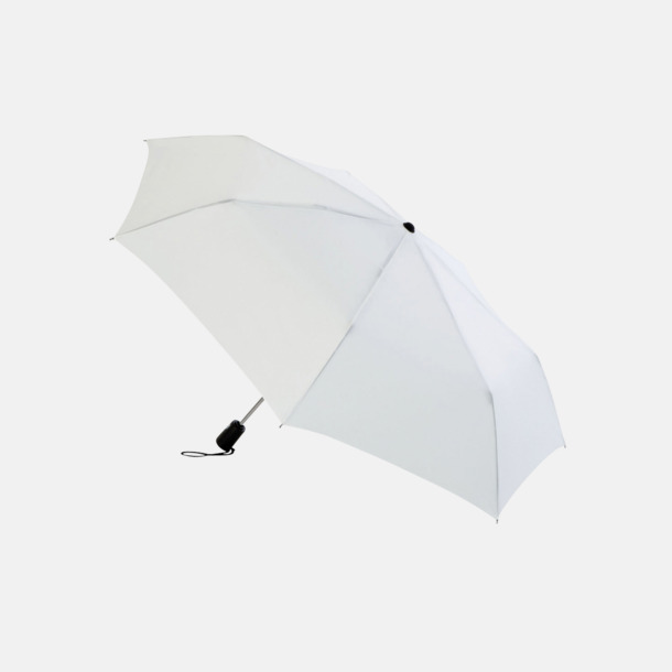 Vit Basildon kompakt - små paraplyer med reklamtryck