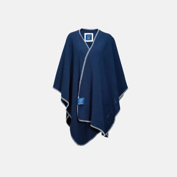 Marinblå Mysig poncho i mjuk fleece
