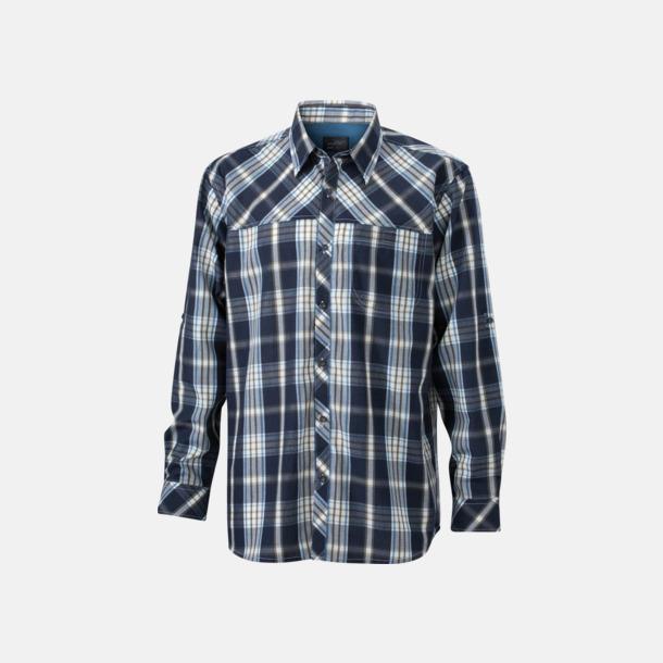 Marinblå/Blå (herr) Rutiga dam- och herrskjortor med reklamtryck