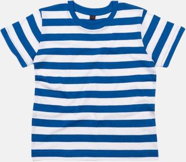 Classic Blue/Vit (barn) Randiga t-shirts i herr-, dam- och barnmodell med reklamtryck