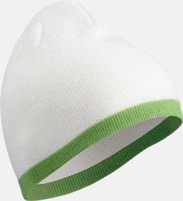 Vit/Limegrön Stickad mössa med eget tryck