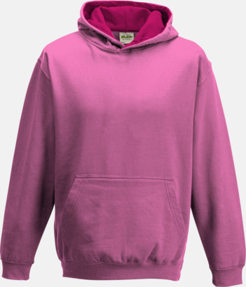 Candyfloss Pink/Hot Pink Varsity Hoodie Contrast i barnmodell med reklamtryck